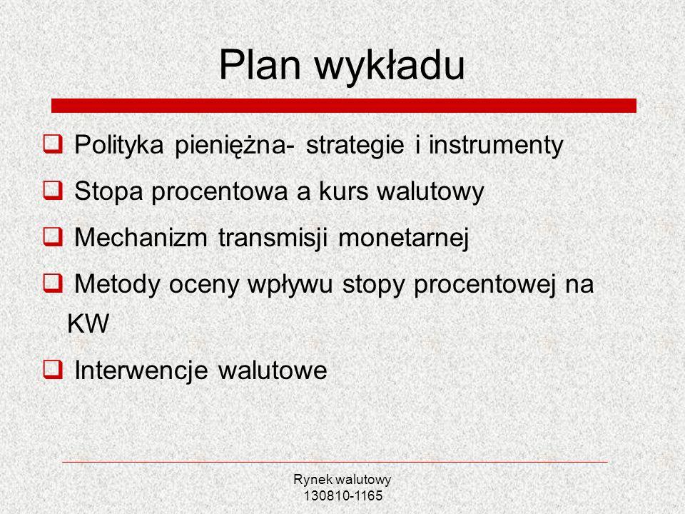 Rynek walutowy 130810-1165 Plan wykładu Polityka pieniężna- strategie i instrumenty Stopa procentowa a kurs walutowy Mechanizm transmisji monetarnej M