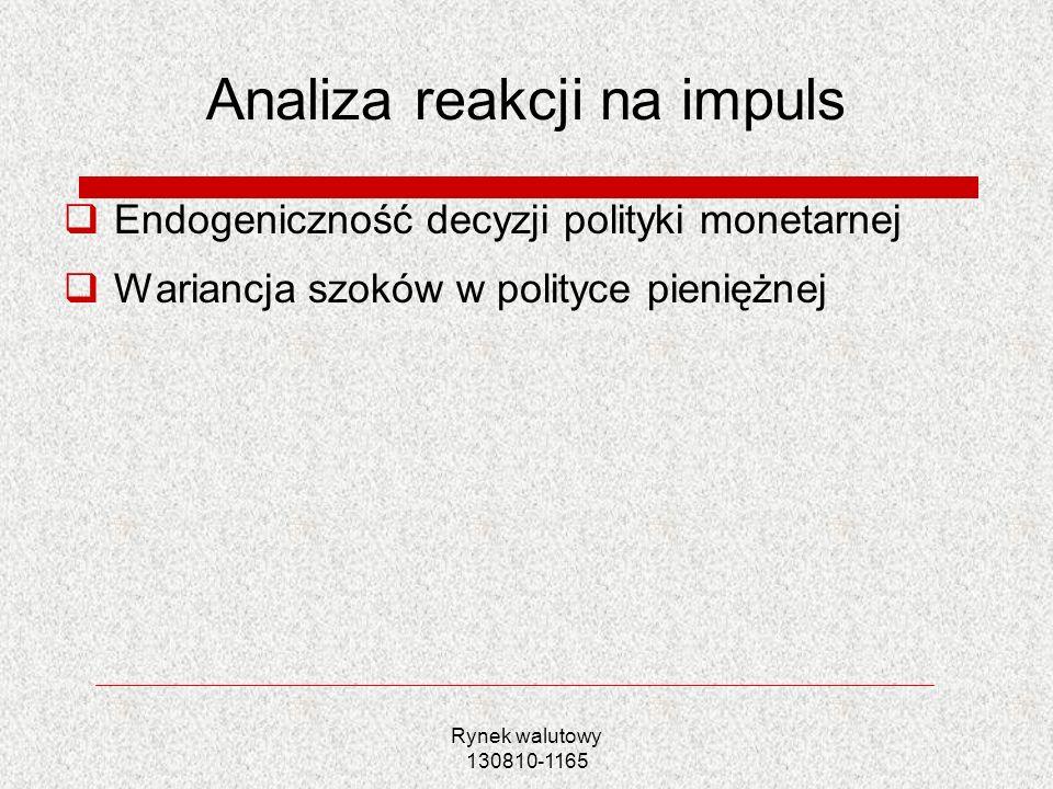 Rynek walutowy 130810-1165 Analiza reakcji na impuls Endogeniczność decyzji polityki monetarnej Wariancja szoków w polityce pieniężnej
