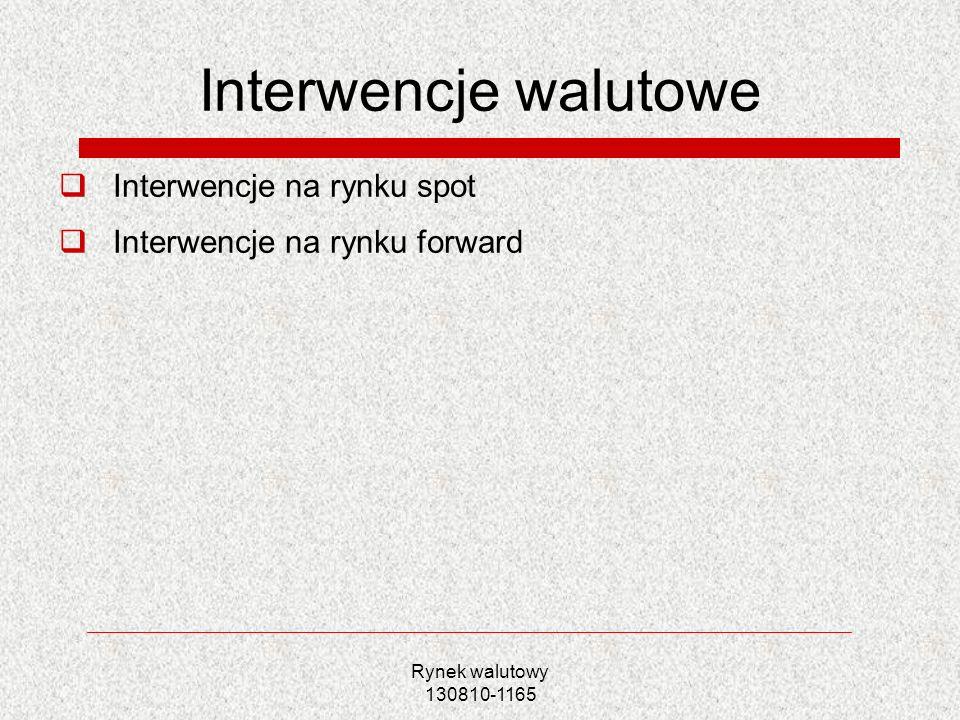 Rynek walutowy 130810-1165 Interwencje walutowe Interwencje na rynku spot Interwencje na rynku forward