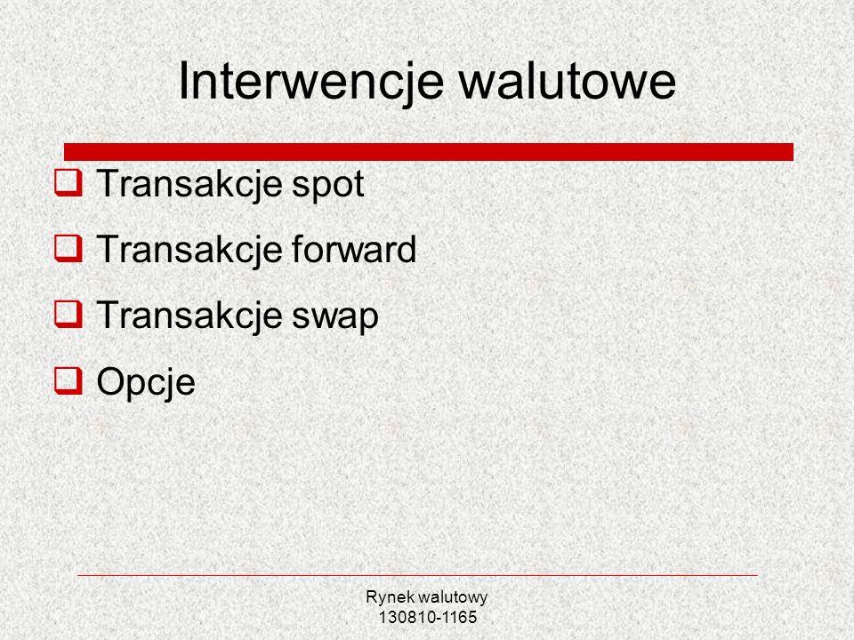 Rynek walutowy 130810-1165 Interwencje walutowe Transakcje spot Transakcje forward Transakcje swap Opcje