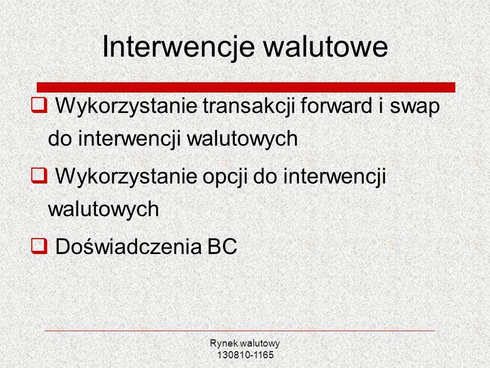 Rynek walutowy 130810-1165 Interwencje walutowe Wykorzystanie transakcji forward i swap do interwencji walutowych Wykorzystanie opcji do interwencji w