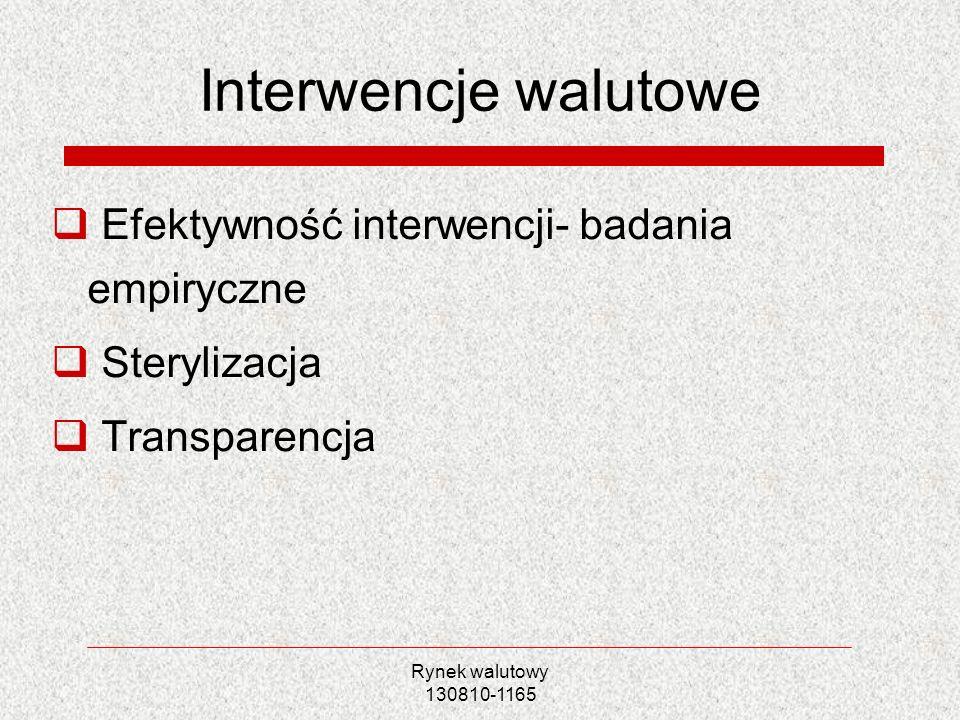 Rynek walutowy 130810-1165 Interwencje walutowe Efektywność interwencji- badania empiryczne Sterylizacja Transparencja