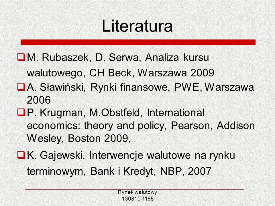 Rynek walutowy 130810-1165 Literatura M. Rubaszek, D. Serwa, Analiza kursu walutowego, CH Beck, Warszawa 2009 A. Sławiński, Rynki finansowe, PWE, Wars
