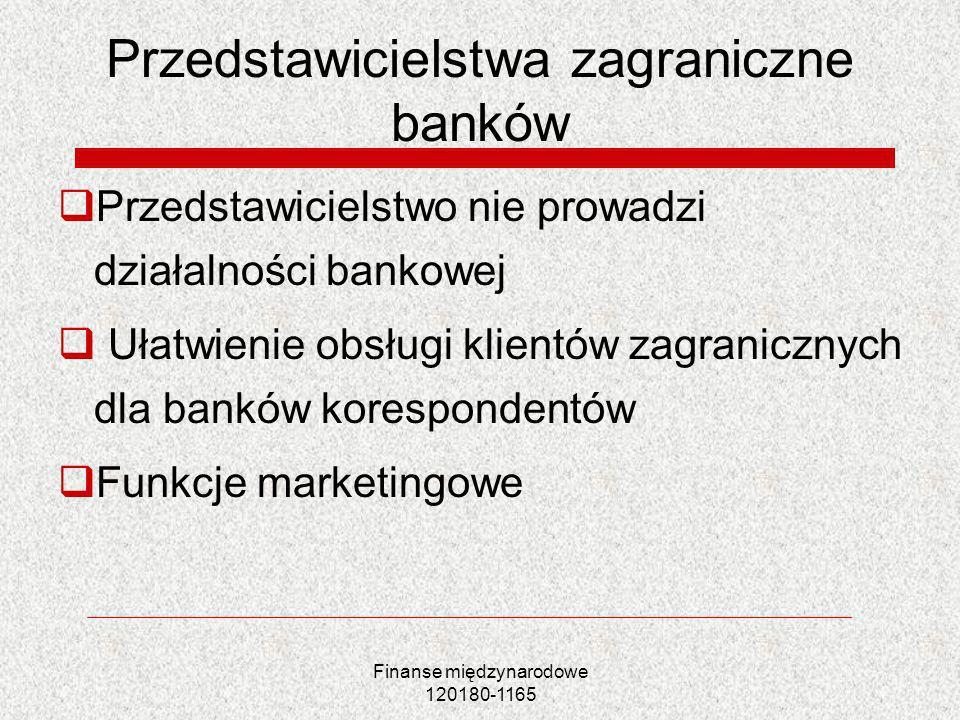 Finanse międzynarodowe 120180-1165 Przedstawicielstwa zagraniczne banków Przedstawicielstwo nie prowadzi działalności bankowej Ułatwienie obsługi klie