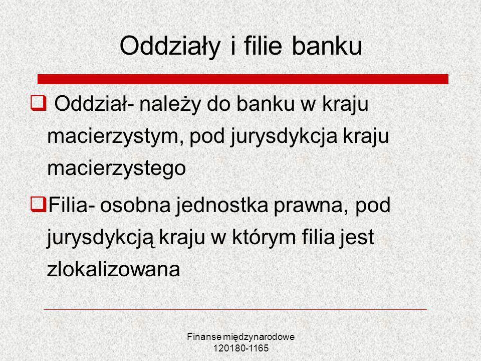 Finanse międzynarodowe 120180-1165 Oddziały i filie banku Oddział- należy do banku w kraju macierzystym, pod jurysdykcja kraju macierzystego Filia- os