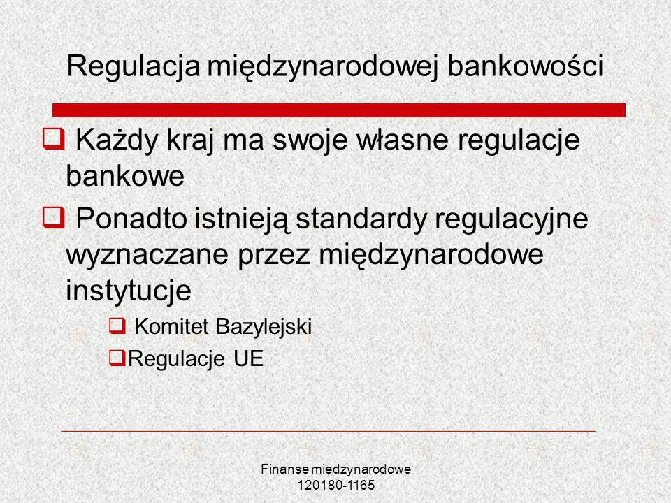 Finanse międzynarodowe 120180-1165 Regulacja międzynarodowej bankowości Każdy kraj ma swoje własne regulacje bankowe Ponadto istnieją standardy regula