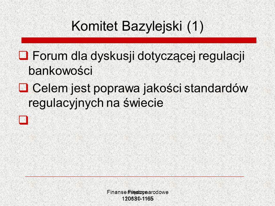 Finanse międzynarodowe 120180-1165 Finance 110631-1165 Komitet Bazylejski (1) Forum dla dyskusji dotyczącej regulacji bankowości Celem jest poprawa ja