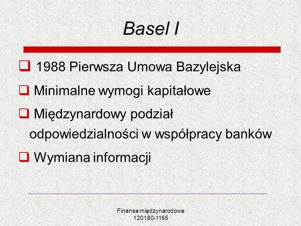 Finanse międzynarodowe 120180-1165 Basel I 1988 Pierwsza Umowa Bazylejska Minimalne wymogi kapitałowe Międzynardowy podział odpowiedzialności w współp