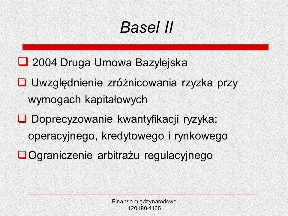 Finanse międzynarodowe 120180-1165 Basel II 2004 Druga Umowa Bazylejska Uwzględnienie zróżnicowania rzyzka przy wymogach kapitałowych Doprecyzowanie k