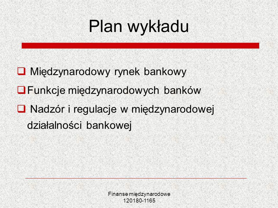Finanse międzynarodowe 120180-1165 Plan wykładu Międzynarodowy rynek bankowy Funkcje międzynarodowych banków Nadzór i regulacje w międzynarodowej dzia