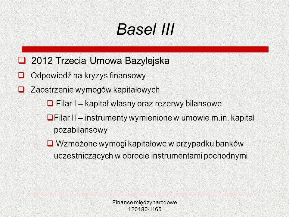 Finanse międzynarodowe 120180-1165 Basel III 2012 Trzecia Umowa Bazylejska Odpowiedź na kryzys finansowy Zaostrzenie wymogów kapitałowych Filar I – ka