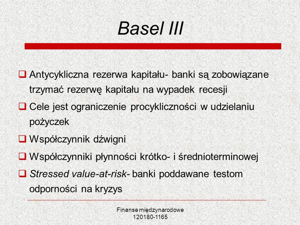 Finanse międzynarodowe 120180-1165 Basel III Antycykliczna rezerwa kapitału- banki są zobowiązane trzymać rezerwę kapitału na wypadek recesji Cele jes