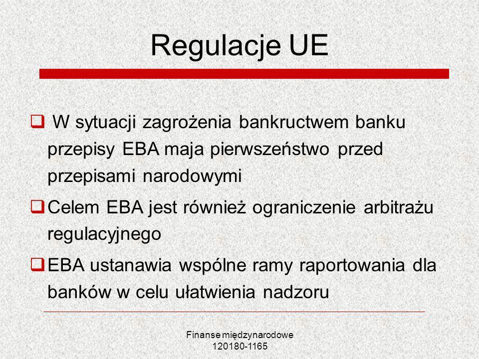 Finanse międzynarodowe 120180-1165 Regulacje UE W sytuacji zagrożenia bankructwem banku przepisy EBA maja pierwszeństwo przed przepisami narodowymi Ce