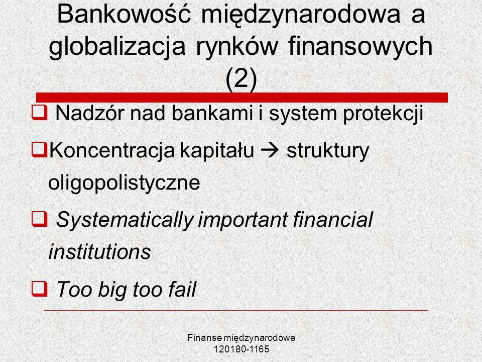 Finanse międzynarodowe 120180-1165 Bankowość międzynarodowa a globalizacja rynków finansowych (2) Nadzór nad bankami i system protekcji Koncentracja k