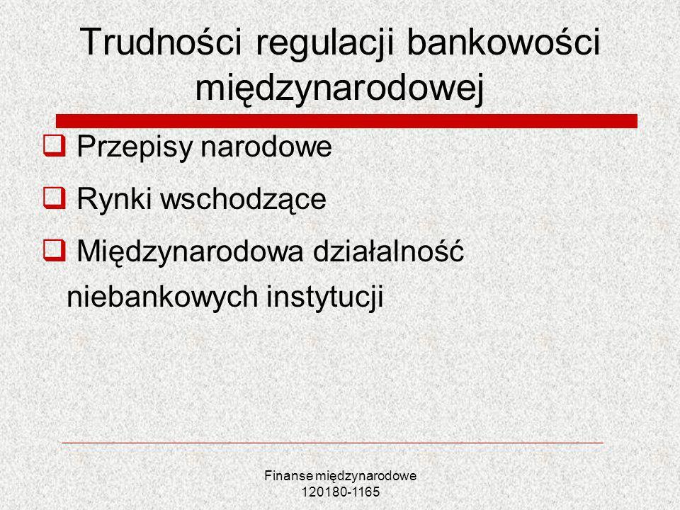 Finanse międzynarodowe 120180-1165 Trudności regulacji bankowości międzynarodowej Przepisy narodowe Rynki wschodzące Międzynarodowa działalność nieban