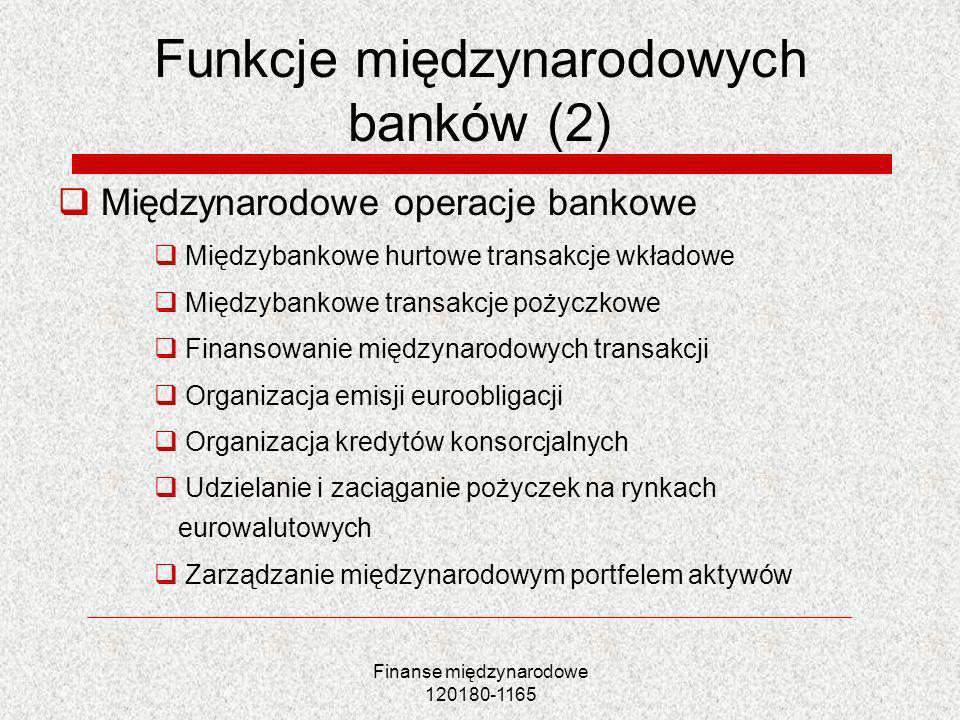Finanse międzynarodowe 120180-1165 Funkcje międzynarodowych banków (2) Międzynarodowe operacje bankowe Międzybankowe hurtowe transakcje wkładowe Międz
