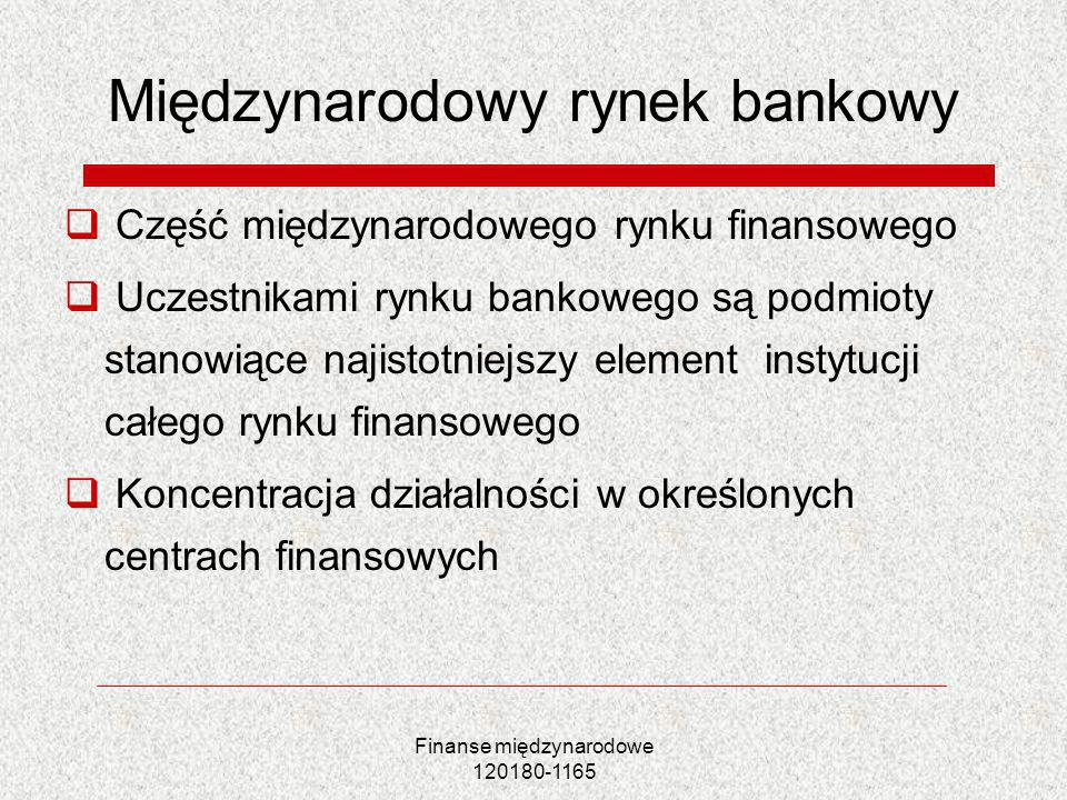 Finanse międzynarodowe 120180-1165 Bankowość międzynarodowa a globalizacja rynków finansowych (2) Nadzór nad bankami i system protekcji Koncentracja kapitału struktury oligopolistyczne Systematically important financial institutions Too big too fail