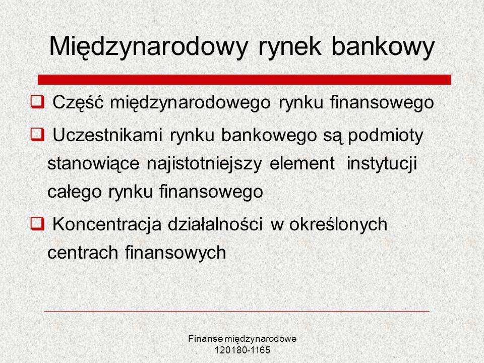 Finanse międzynarodowe 120180-1165 Międzynarodowy rynek bankowy Część międzynarodowego rynku finansowego Uczestnikami rynku bankowego są podmioty stan