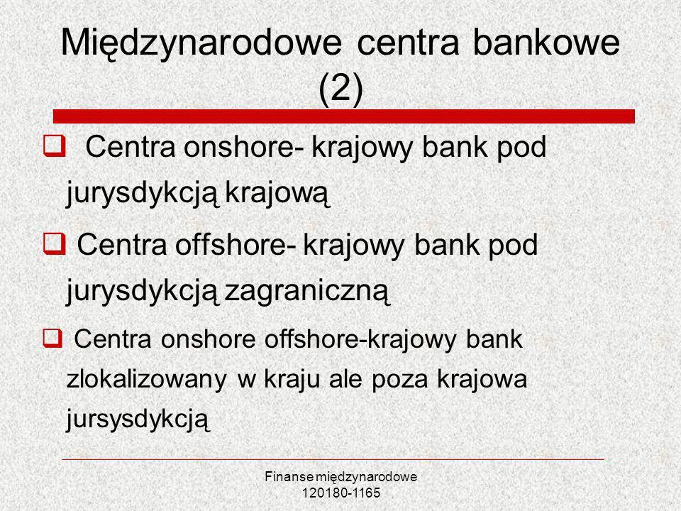 Finanse międzynarodowe 120180-1165 Międzynarodowe centra bankowe (2) Centra onshore- krajowy bank pod jurysdykcją krajową Centra offshore- krajowy ban
