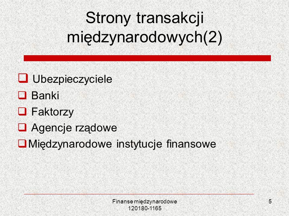Strony transakcji międzynarodowych(2) Ubezpieczyciele Banki Faktorzy Agencje rządowe Międzynarodowe instytucje finansowe Finanse międzynarodowe 120180