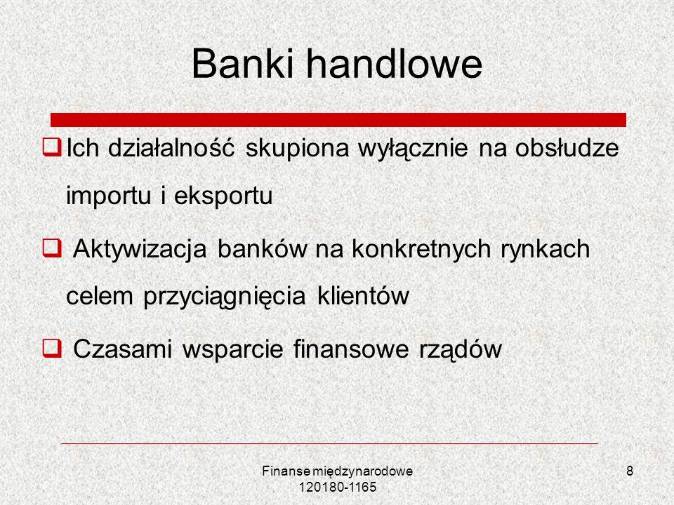 Banki handlowe Ich działalność skupiona wyłącznie na obsłudze importu i eksportu Aktywizacja banków na konkretnych rynkach celem przyciągnięcia klient