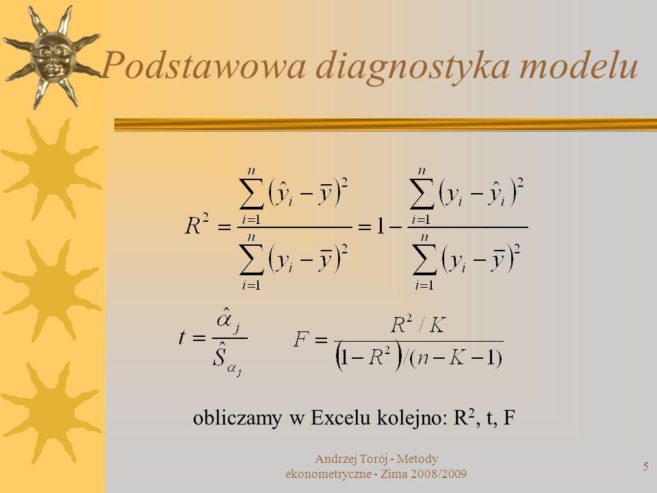 Andrzej Torój - Metody ekonometryczne - Zima 2008/2009 5 Podstawowa diagnostyka modelu obliczamy w Excelu kolejno: R 2, t, F