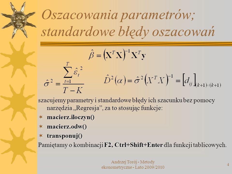 Andrzej Torój - Metody ekonometryczne - Lato 2009/2010 4 Oszacowania parametrów; standardowe błędy oszacowań szacujemy parametry i standardowe błędy i