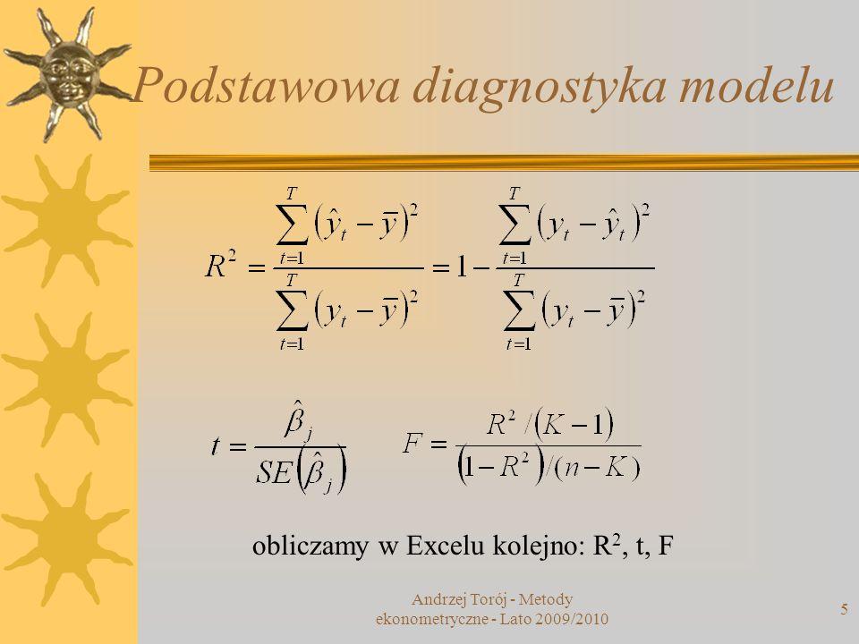 Andrzej Torój - Metody ekonometryczne - Lato 2009/2010 5 Podstawowa diagnostyka modelu obliczamy w Excelu kolejno: R 2, t, F