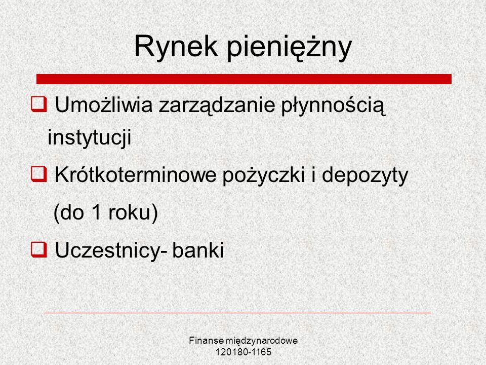 Rynek pieniężny Umożliwia zarządzanie płynnością instytucji Krótkoterminowe pożyczki i depozyty (do 1 roku) Uczestnicy- banki