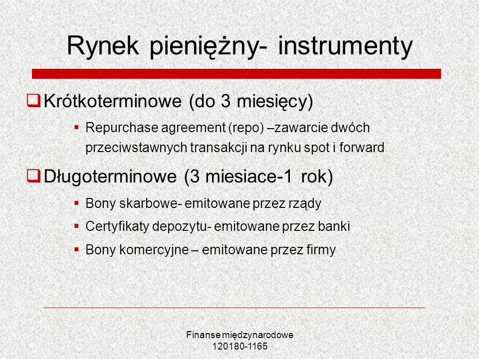 Finanse międzynarodowe 120180-1165 Rynek pieniężny- instrumenty Krótkoterminowe (do 3 miesięcy) Repurchase agreement (repo) –zawarcie dwóch przeciwsta