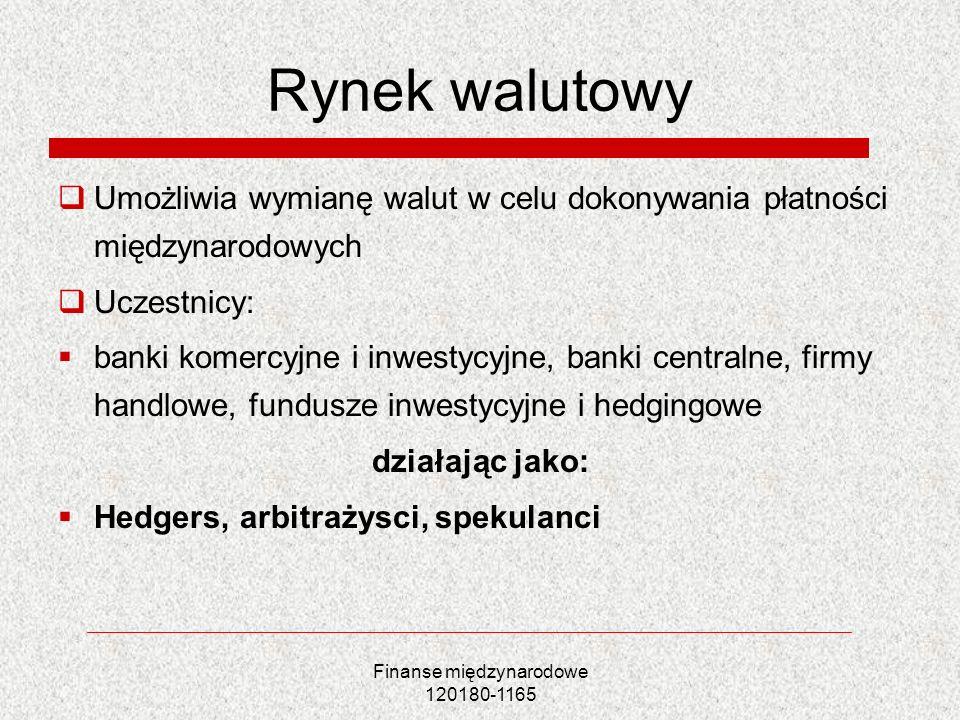 Finanse międzynarodowe 120180-1165 Rynek walutowy Umożliwia wymianę walut w celu dokonywania płatności międzynarodowych Uczestnicy: banki komercyjne i