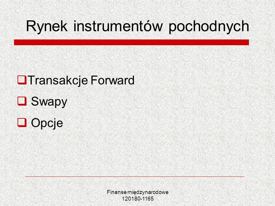 Finanse międzynarodowe 120180-1165 Rynek instrumentów pochodnych Transakcje Forward Swapy Opcje