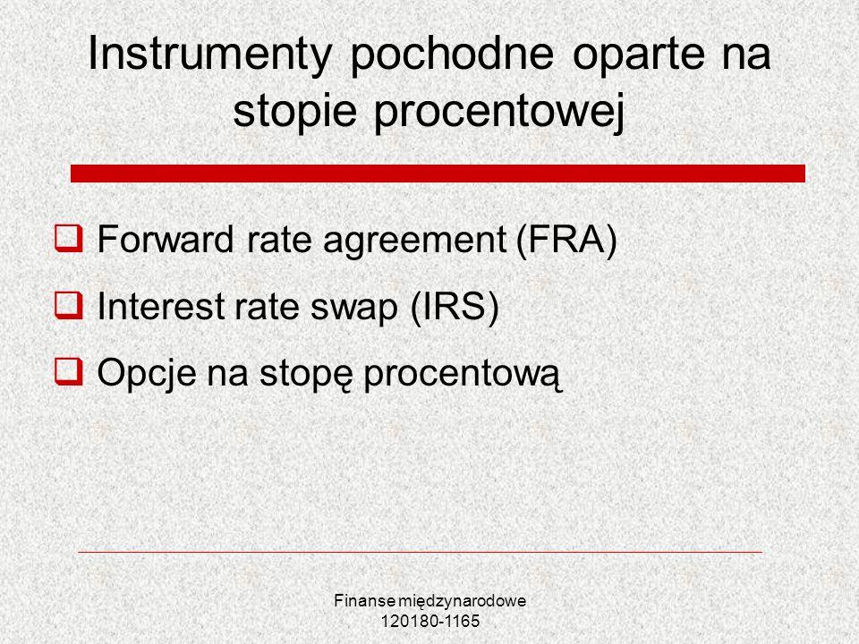 Finanse międzynarodowe 120180-1165 Instrumenty pochodne oparte na stopie procentowej Forward rate agreement (FRA) Interest rate swap (IRS) Opcje na st