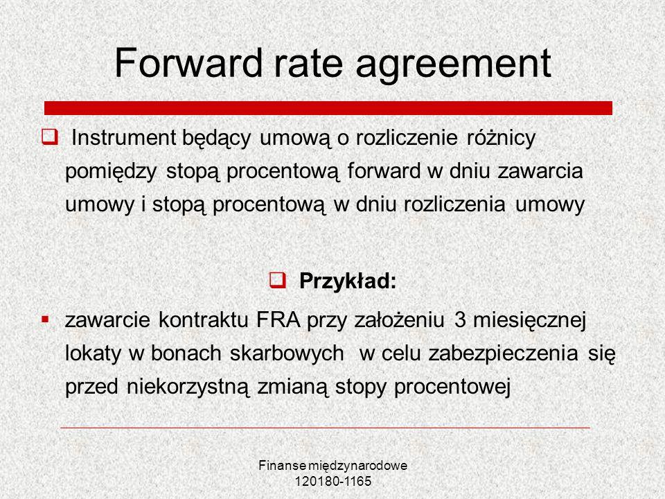 Finanse międzynarodowe 120180-1165 Forward rate agreement Instrument będący umową o rozliczenie różnicy pomiędzy stopą procentową forward w dniu zawar