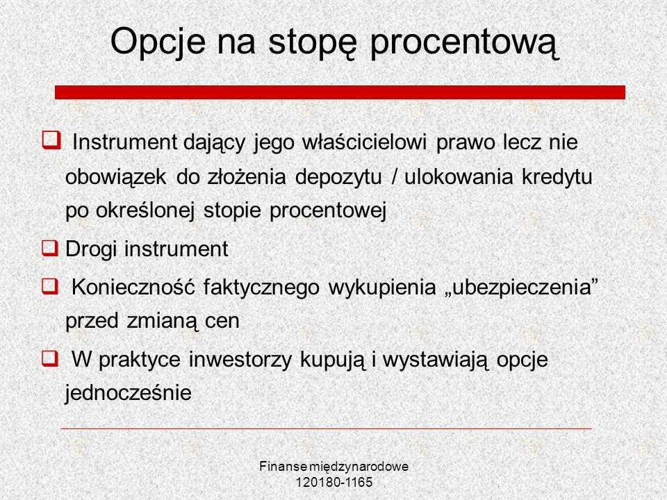 Finanse międzynarodowe 120180-1165 Opcje na stopę procentową Instrument dający jego właścicielowi prawo lecz nie obowiązek do złożenia depozytu / ulok