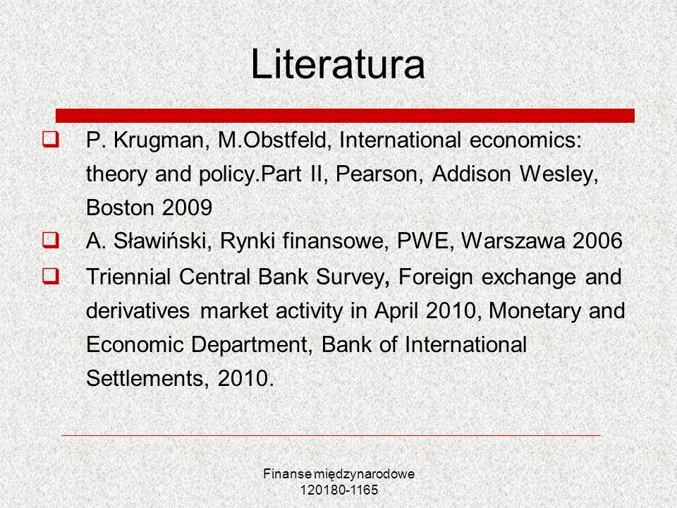 Finanse międzynarodowe 120180-1165 Literatura P. Krugman, M.Obstfeld, International economics: theory and policy.Part II, Pearson, Addison Wesley, Bos
