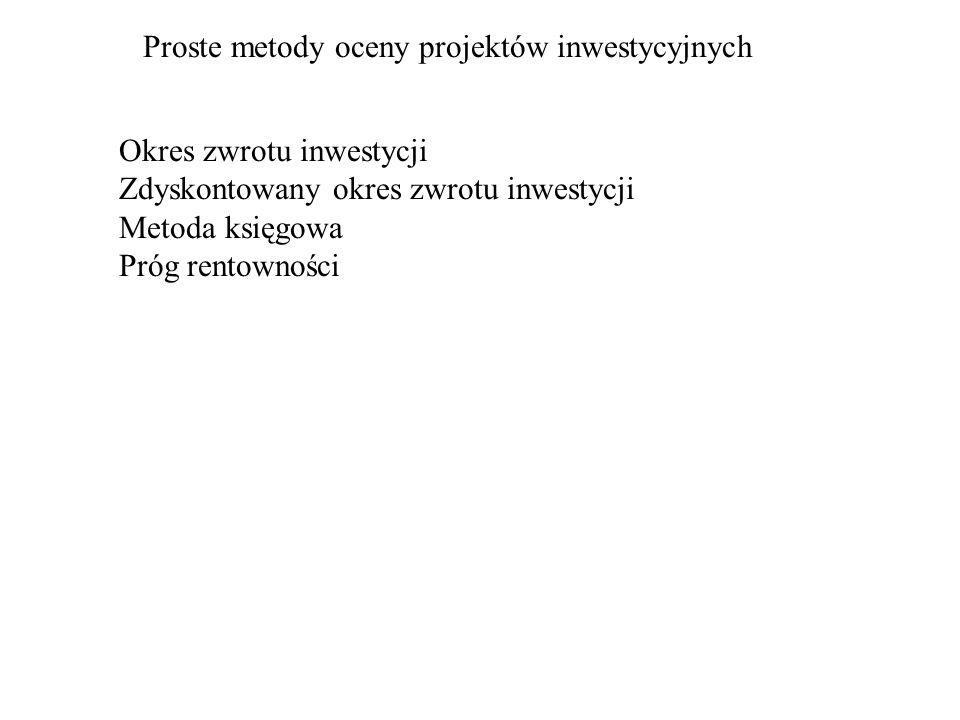 Proste metody oceny projektów inwestycyjnych Okres zwrotu inwestycji Zdyskontowany okres zwrotu inwestycji Metoda księgowa Próg rentowności