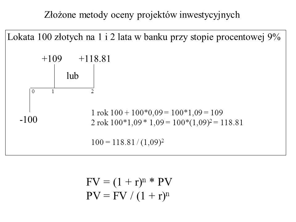 Złożone metody oceny projektów inwestycyjnych Lokata 100 złotych na 1 i 2 lata w banku przy stopie procentowej 9% -100 +109 021 lub +118.81 1 rok 100