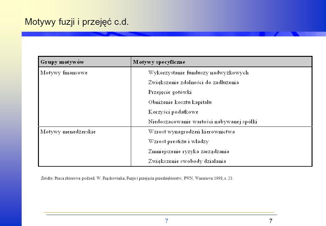 7 Motywy fuzji i przejęć c.d. 7 Źródło: Praca zbiorowa pod red. W. Frąckowiaka, Fuzje i przejęcia przedsiębiorstw, PWN, Warszawa 1998, s. 23.