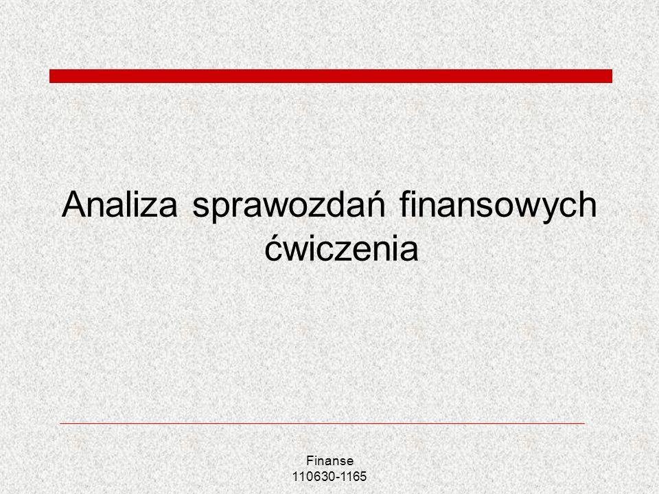 Analiza sprawozdań finansowych ćwiczenia Finanse 110630-1165