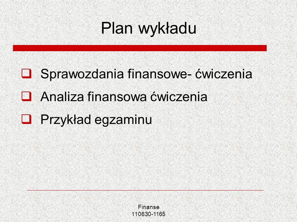Plan wykładu Sprawozdania finansowe- ćwiczenia Analiza finansowa ćwiczenia Przykład egzaminu Finanse 110630-1165