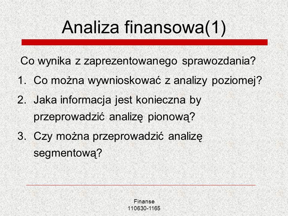 Analiza finansowa(1) Co wynika z zaprezentowanego sprawozdania? 1.Co można wywnioskować z analizy poziomej? 2.Jaka informacja jest konieczna by przepr