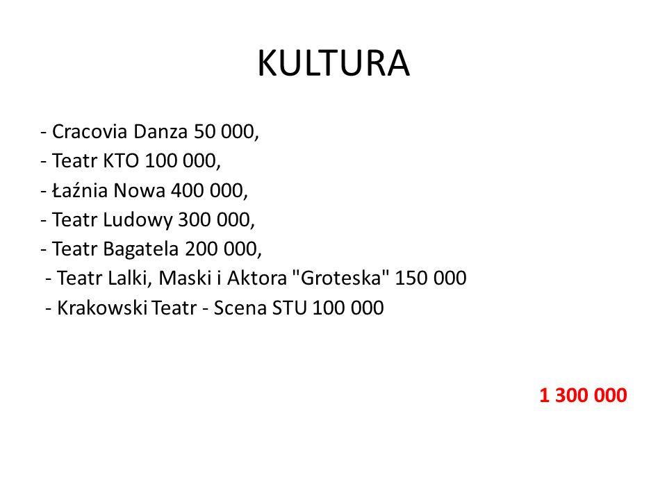 KULTURA - Cracovia Danza 50 000, - Teatr KTO 100 000, - Łaźnia Nowa 400 000, - Teatr Ludowy 300 000, - Teatr Bagatela 200 000, - Teatr Lalki, Maski i
