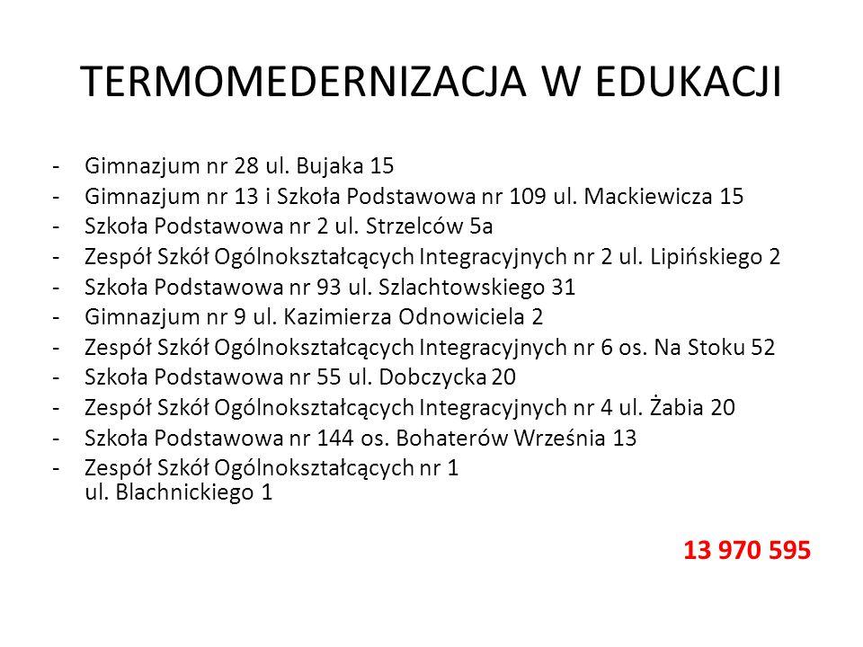 TERMOMEDERNIZACJA W EDUKACJI -Gimnazjum nr 28 ul. Bujaka 15 -Gimnazjum nr 13 i Szkoła Podstawowa nr 109 ul. Mackiewicza 15 -Szkoła Podstawowa nr 2 ul.