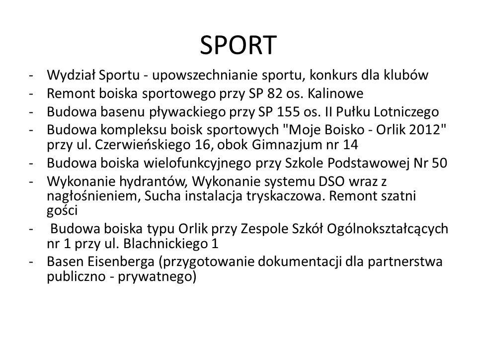SPORT -Wydział Sportu - upowszechnianie sportu, konkurs dla klubów -Remont boiska sportowego przy SP 82 os. Kalinowe -Budowa basenu pływackiego przy S