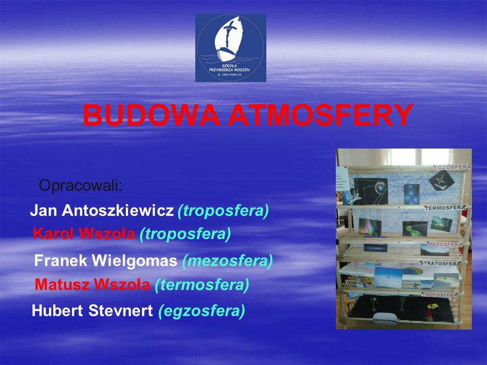 BUDOWA ATMOSFERY Opracowali: Jan Antoszkiewicz (troposfera) Karol Wszoła (troposfera) Franek Wielgomas (mezosfera) Matusz Wszoła (termosfera) Hubert S