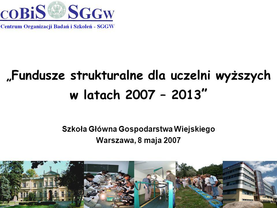 Fundusze strukturalne dla uczelni wyższych w latach 2007 – 2013 Szkoła Główna Gospodarstwa Wiejskiego Warszawa, 8 maja 2007