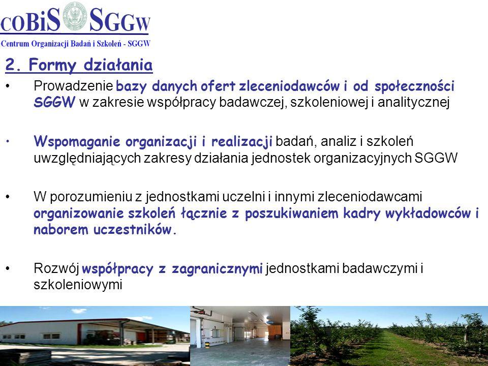 2. Formy działania Prowadzenie bazy danych ofert zleceniodawców i od społeczności SGGW w zakresie współpracy badawczej, szkoleniowej i analitycznej Ws