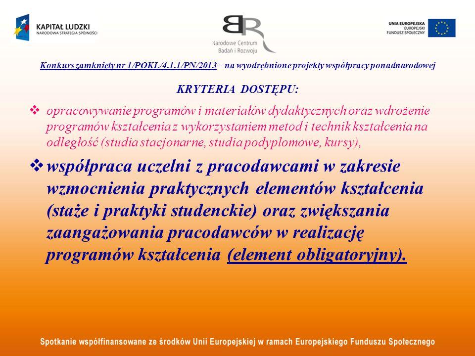 Konkurs zamknięty nr 1/POKL/4.1.1/PN/2013 – na wyodrębnione projekty współpracy ponadnarodowej KRYTERIA DOSTĘPU: opracowywanie programów i materiałów
