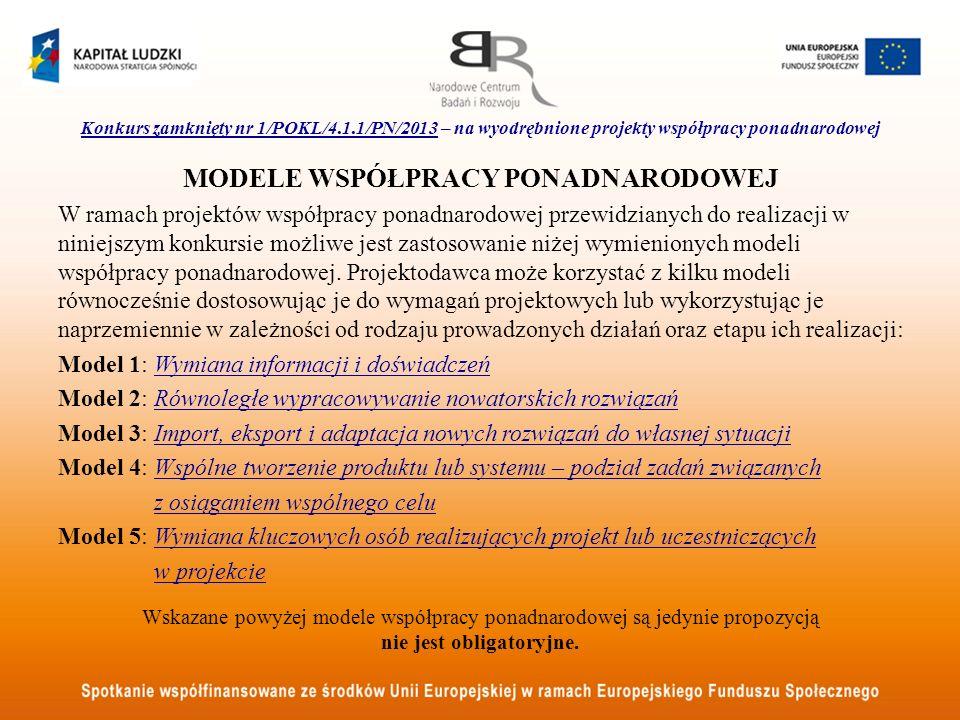 Konkurs zamknięty nr 1/POKL/4.1.1/PN/2013 – na wyodrębnione projekty współpracy ponadnarodowej MODELE WSPÓŁPRACY PONADNARODOWEJ W ramach projektów wsp